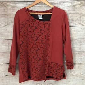 Parsley & Sage Red Peasant Tunic Sweater Top